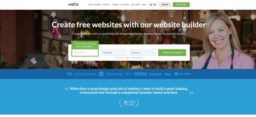 Webs.com WYSIWYG editor webových stránok