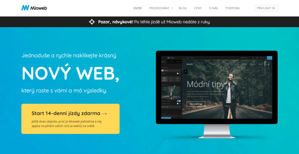 MioWeb.cz WYSIWYG editor webových stránok