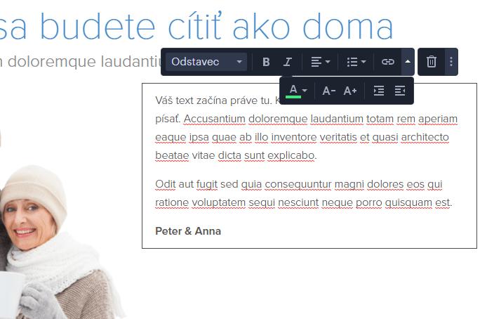 Webnode.sk návod - úprava prvku