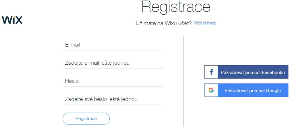 Wix návod - registrácia
