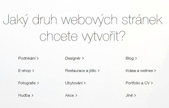 Wix návod - výber typu stránok