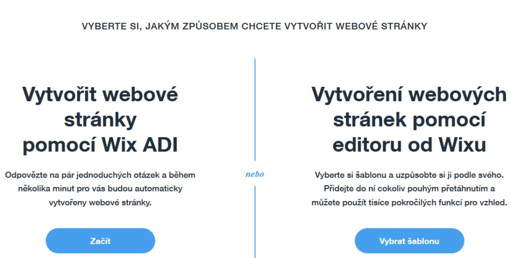 Wix návod - výber editora Wix ADI