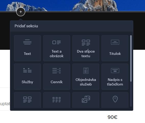Webnode návod - vloženie sekcie do stránok
