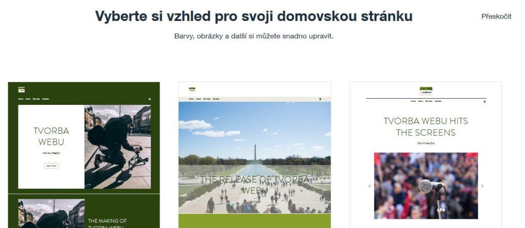 Wix návod - vzhľad stránky