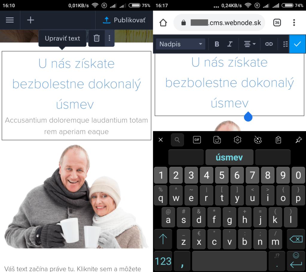 Webnode.sk recenzia editovanie stránok z mobilu