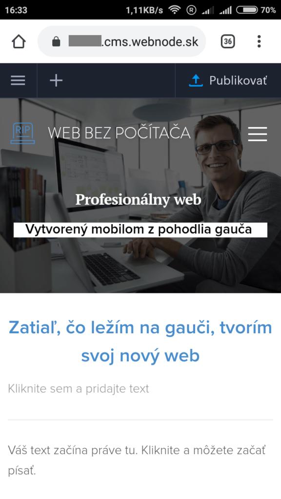 Webnode.sk recenzie a návody - stránky vytvorené mobilným telefónom (cez mobilný editor)