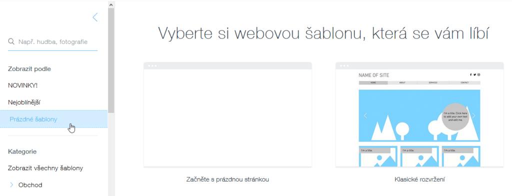 Wix recenzia - tvorba webu - výber šablóny