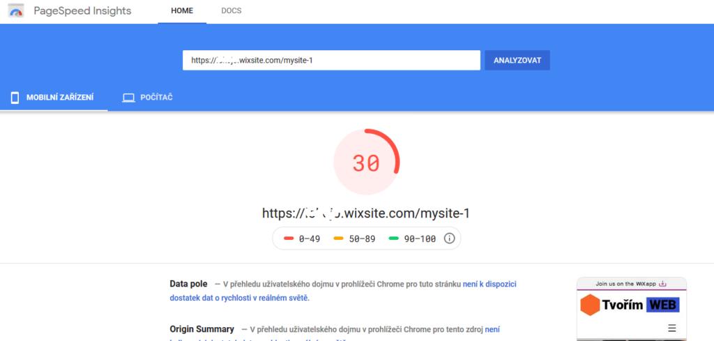 Wix recenzia - test rýchlosti webových stránok