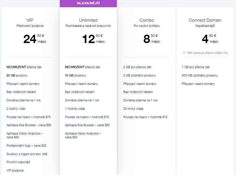 Wix recenzia - cenové balíčky Wix webovej stránky