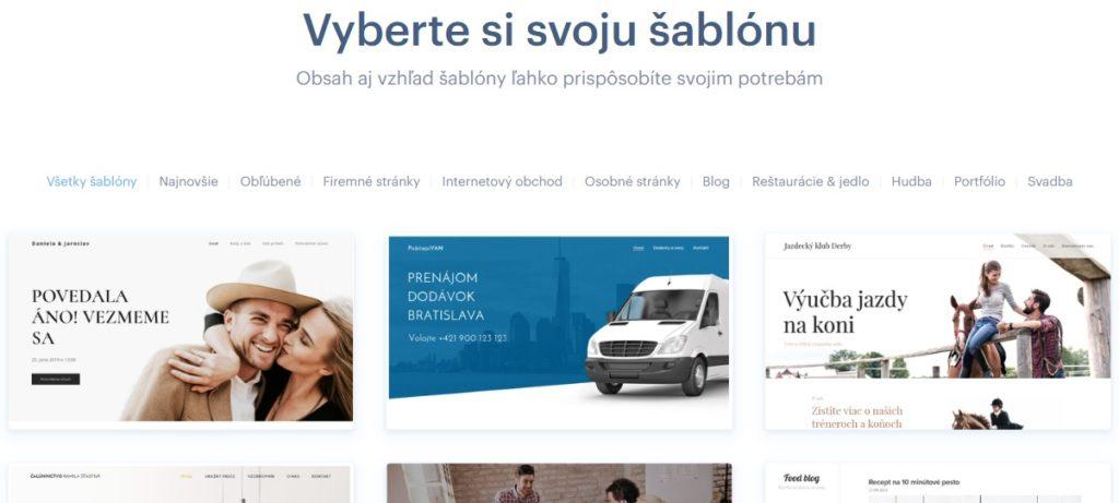 Webnode.sk recenzie a návody - výber šablóny