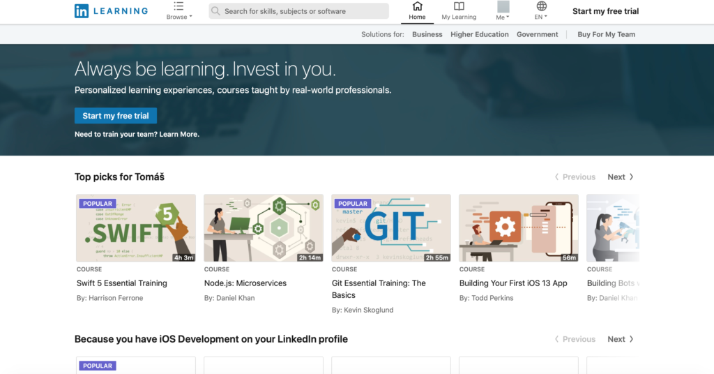 Linkedin Learning online kurzy
