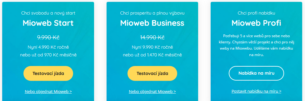 MioWeb recenzia cenové balíčky (programy)