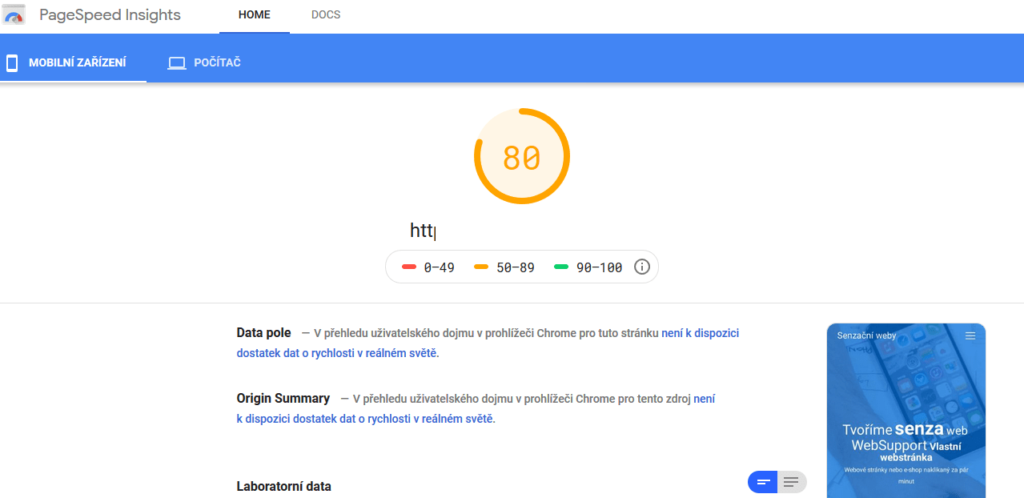 WebSupport Vlastná Webstránka - recenzie - test rýchlosti stránok