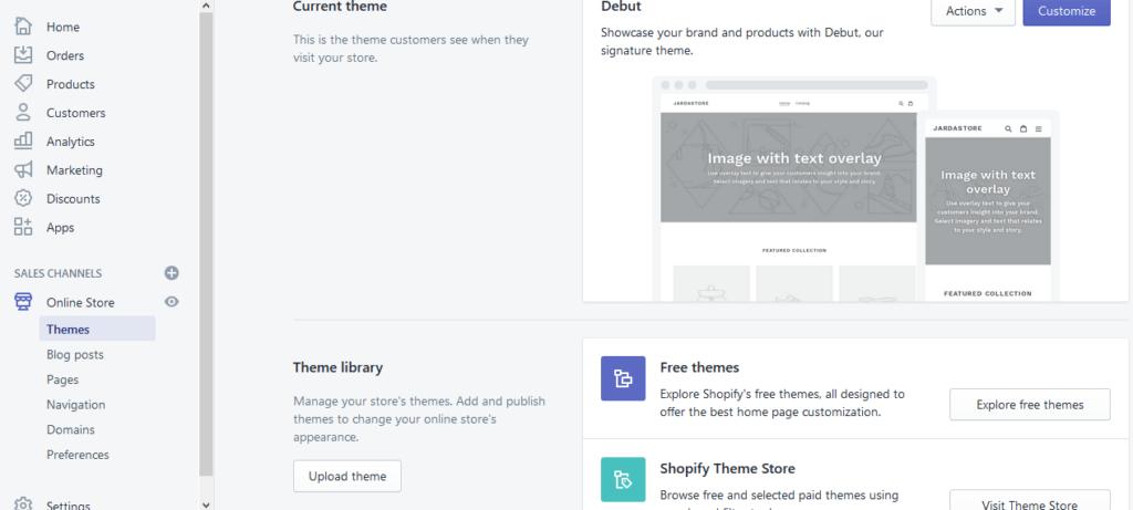 Návod na Shopify - nastavenie vzhľadu - výber šablóny