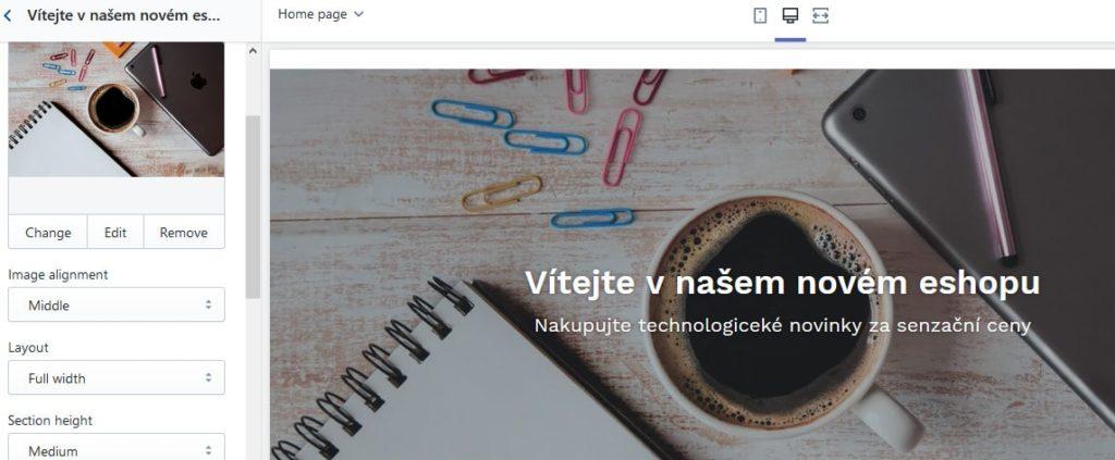 Návody na Shopify - nastavenie vzhľadu - editácia bloku