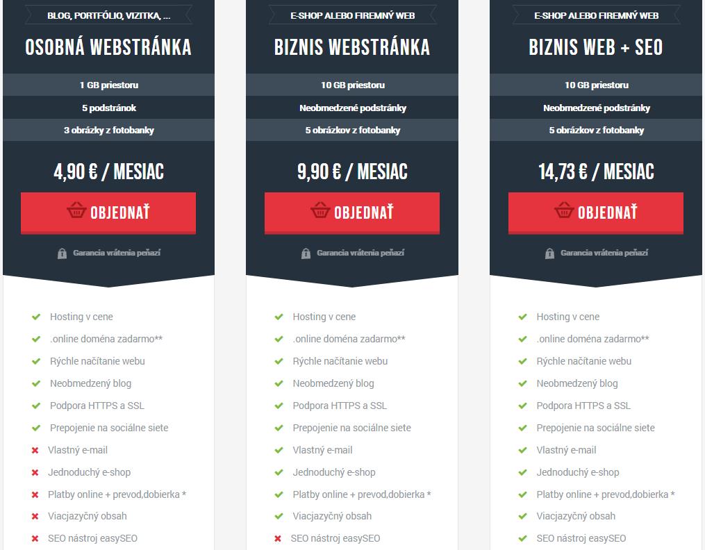 Recenzia WebSupport Vlastná Webstránka - cenník