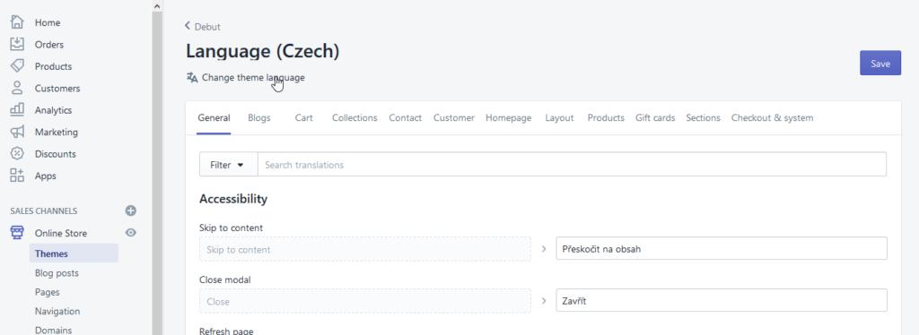 Shopify návod - lokalizácia do ľubovoľného jazyka