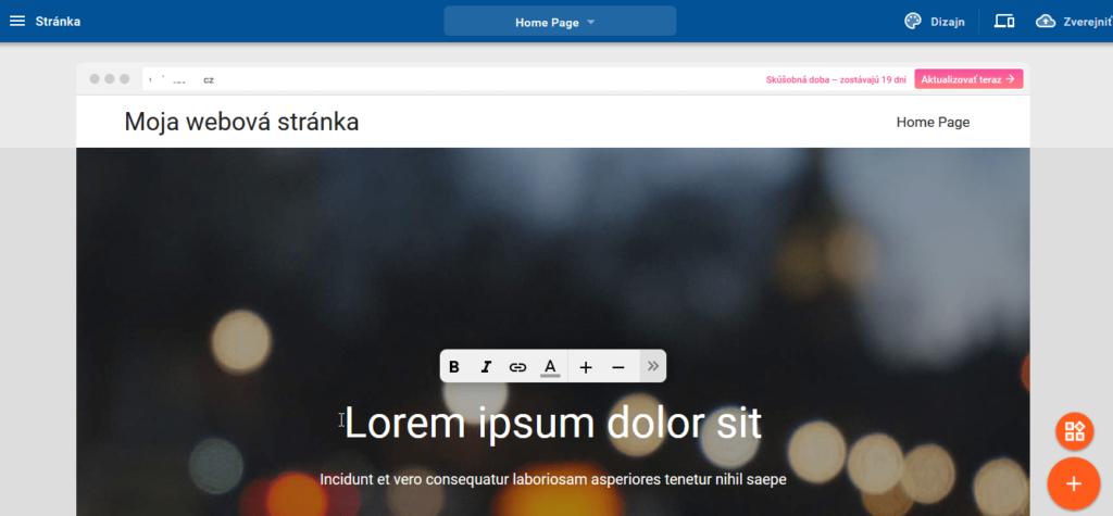 Recenzia WebSupport Vlastná Webstránka - vlastnosti editora