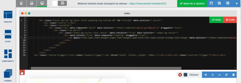 Recenzia WEDOS Website - úprava HTML stránky