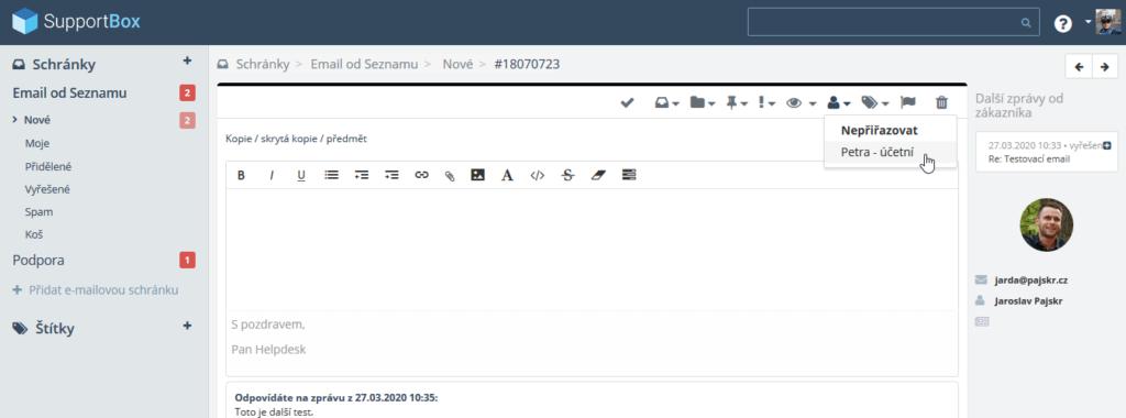 Recenzie SupportBox - delegovanie e-mailov