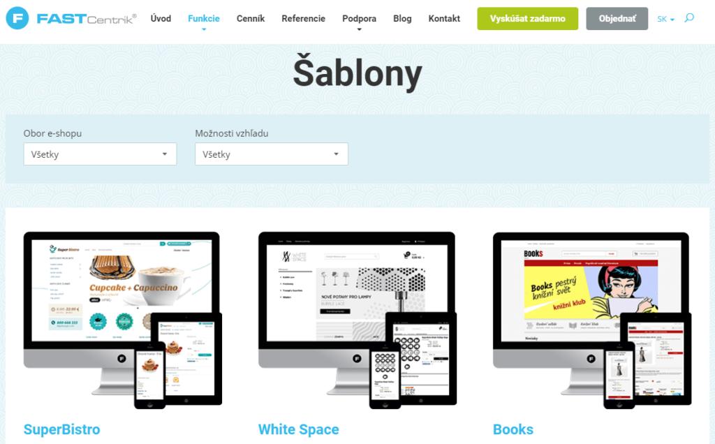 Fastcentrik recenzia - šablóny vzhľadu e-shopu