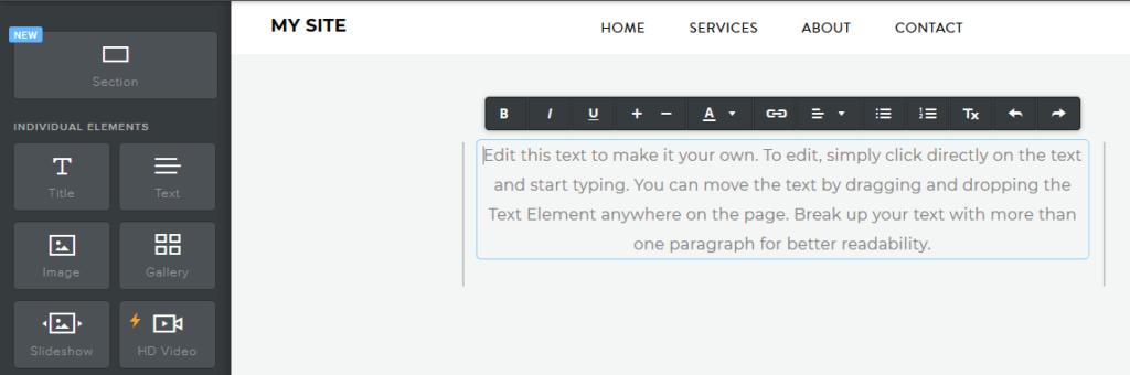 Weebly recenzia - návod ako vytvoriť stránky - úprava textu