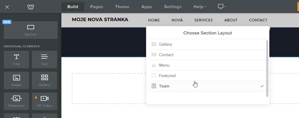 Recenze a návod na Weebly - ako vytvoriť stránky - vloženie sekcie