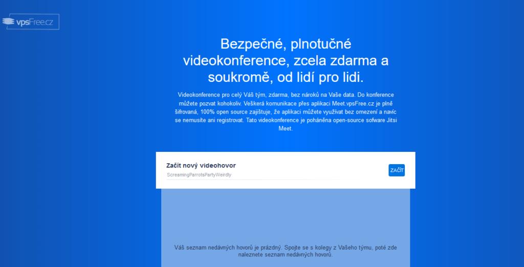 Platforma pre videokonferencie Meet.vpsfree.cz