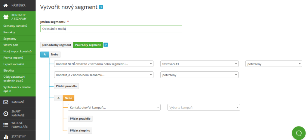 Recenze SmartEmailing - segmentácia