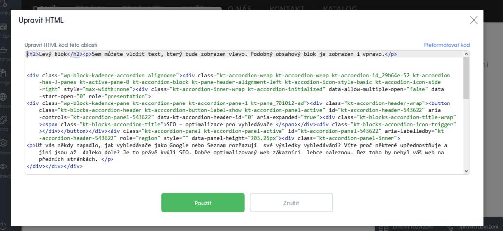 Recenzia Mozella vkladanie vlastného HTML