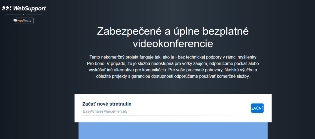 Platforma pre videokonferencie Meet.websupport.sk