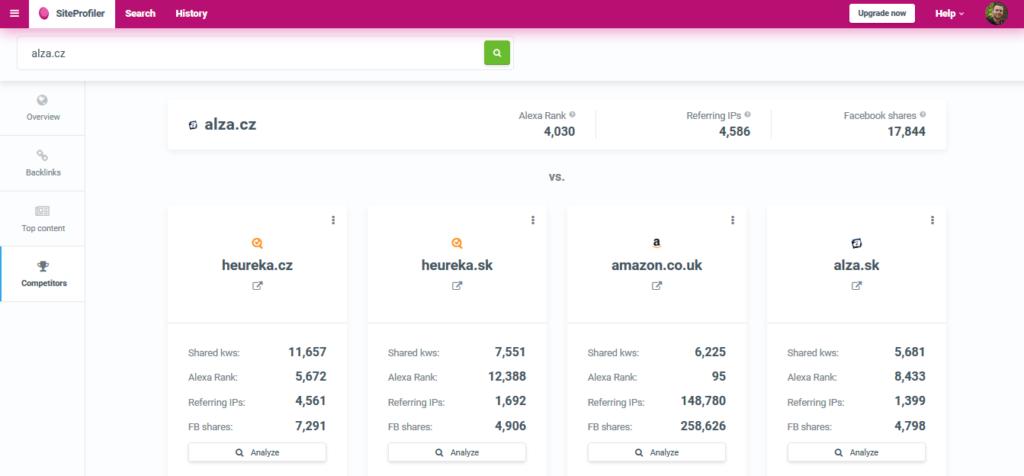 Recenzie Mangools LinkMiner SiteProfiler konkurencia