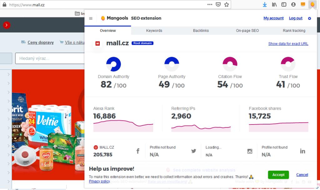 Recenzia Mangools rozšírenia pro Chrome a Firefox prehliadač