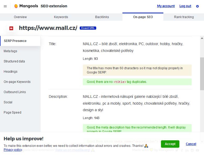 Hodnotenie Mangools rozšírenia pro Chrome a Firefox prehliadač