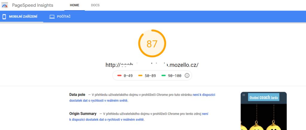 Recenzia Mozella test rýchlosti webovej stránky