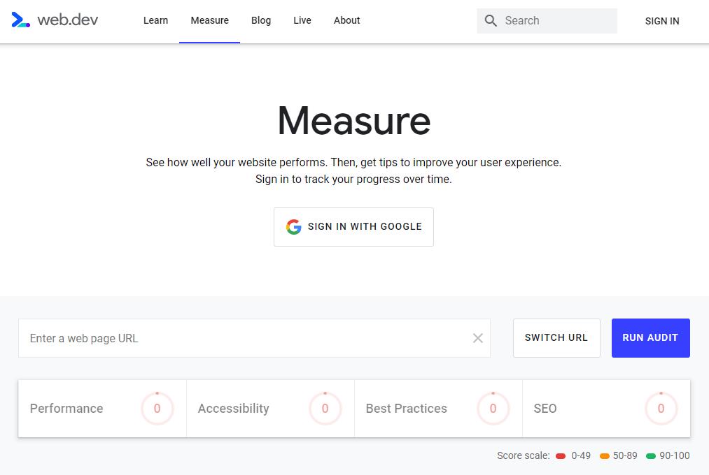 Nástroj na meranie rýchlosti stránok Google web.dev