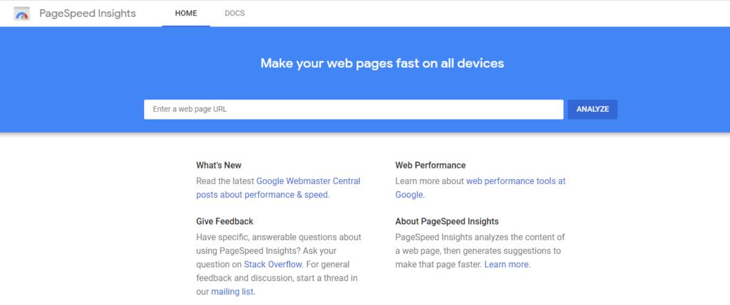 Nástroj na meranie rýchlosti webov Pagespeed Insights