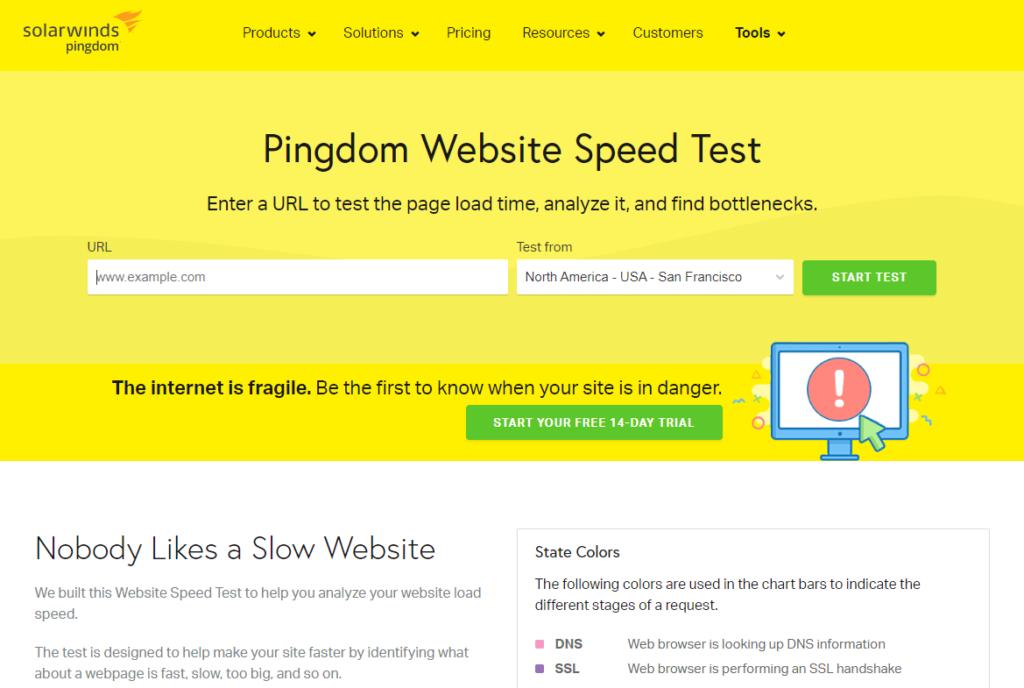 Nástroj na meranie rýchlosti internetových stránok Pingdom.com