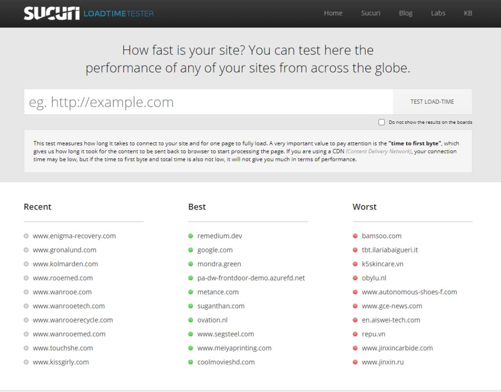 Nástroj na meranie rýchlosti webových stránok Performance.sucuri.net
