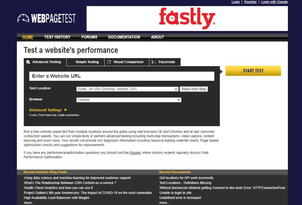 Nástroj na meranie rýchlosti webových prezentácií Webpagetest.org