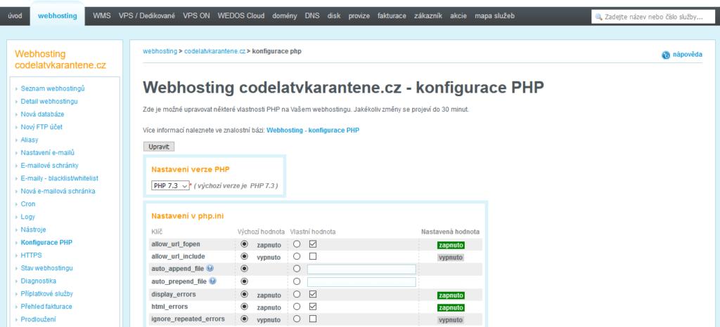 Recenzia Wedos zákaznická administrácia konfigurácia PHP