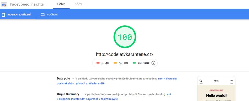 Recenzia Wedos test rýchlosti Google Page Speed Insights webových stránok na CMS WordPress