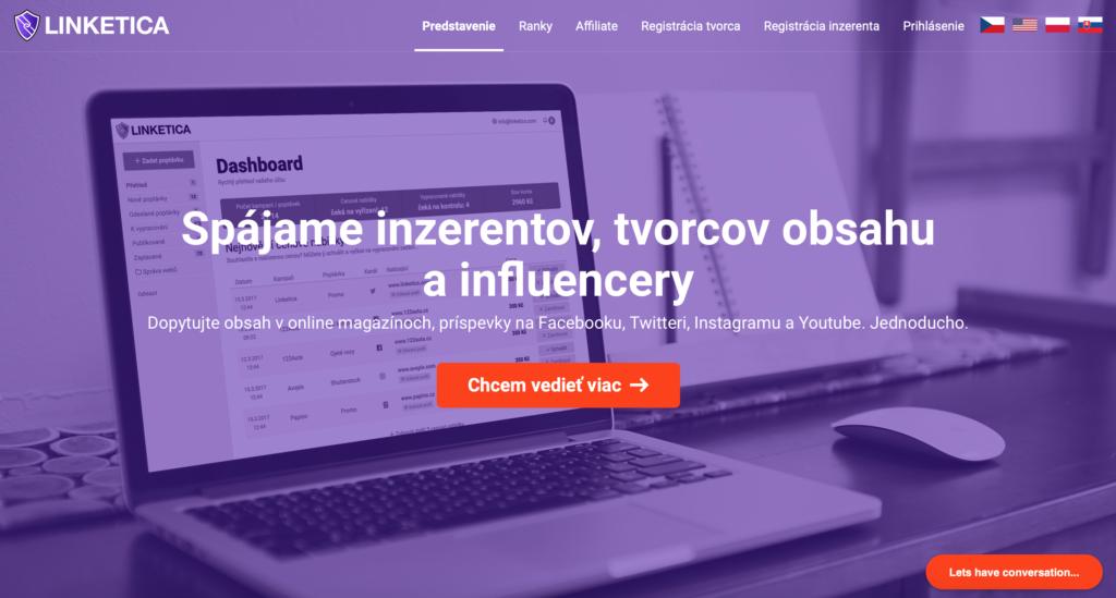 Linketica.com platforma na tvorbu obsahu pre webové stránky a sociálne siete