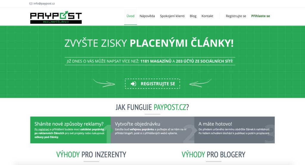PayPost.cz platofrma pre nákup platených článkov a podčlánkovej inzercie