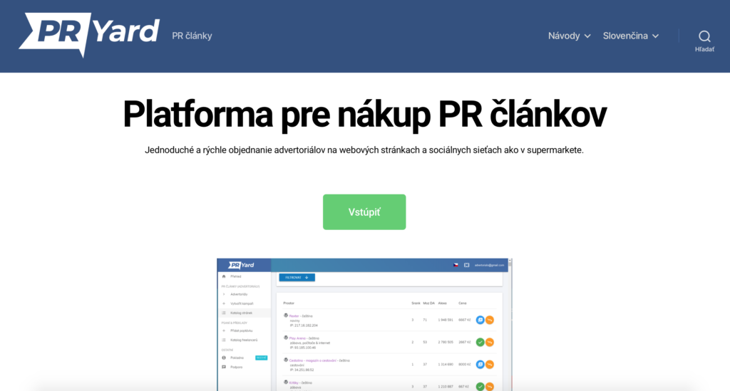 PRYard.com platforma na nákup PR článkov
