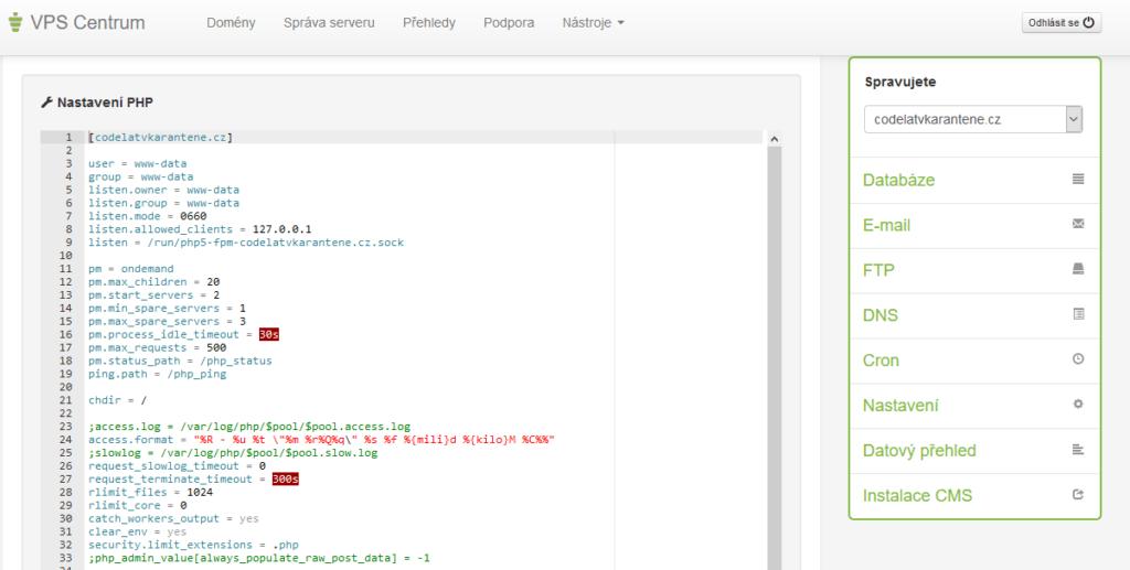 Váš Hosting recenzia VPS nastavenia PHP
