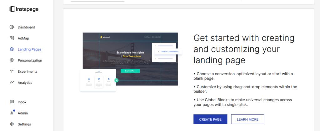 Instapage recenzie vytvorenie landing page II.