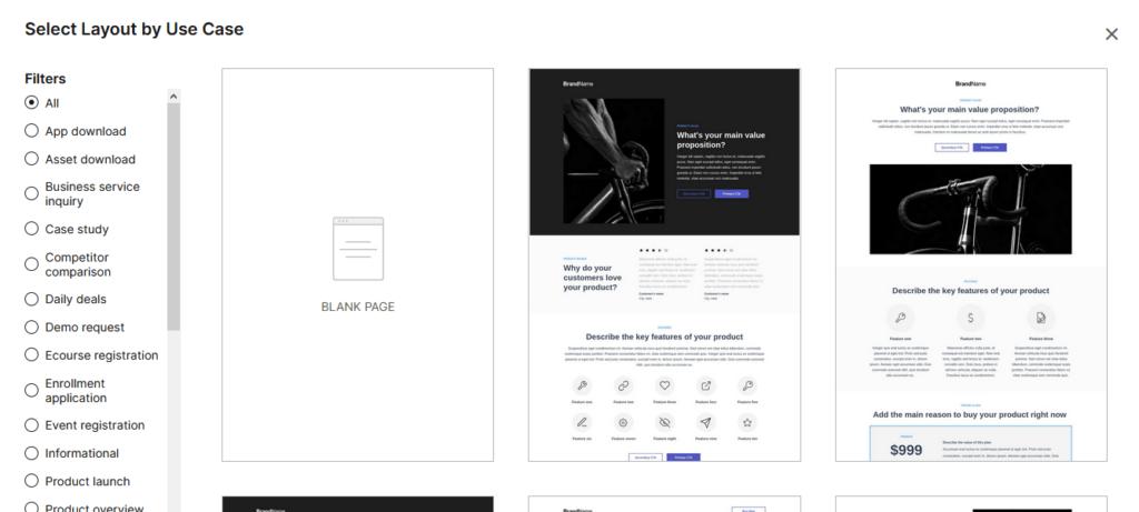 Instapage recenzia vytvorenie landing page výber šablóny