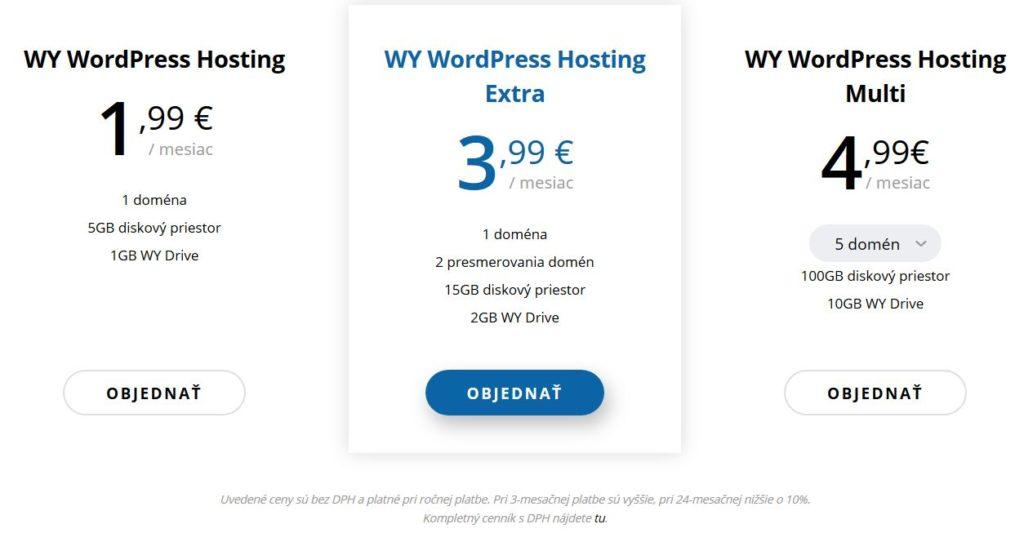 WY WordPress webhosting recenzia ceny balíkov