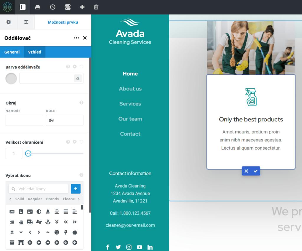 Recenzie - WordPress šablóna Avada - Fusion Builder úprava